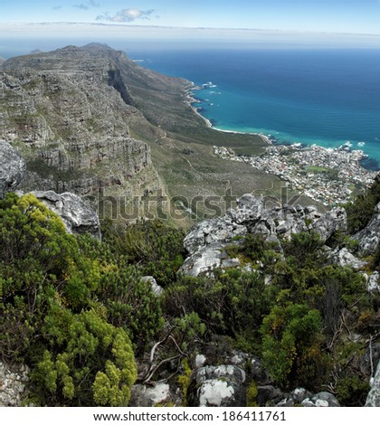 View from Table Mountain on the coast south of Cape Town, South Africa. - stock photo