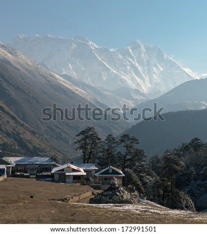 View from Tengboche in the direction of Everest - Nepal, Himalayas - stock photo