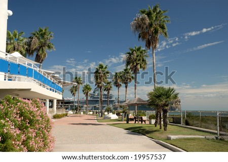 View from Texas State Aquarium, Corpus Christi TX USA - stock photo
