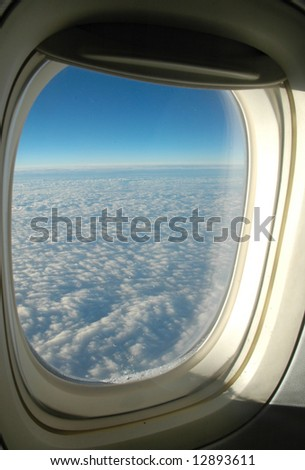 View from the aeroplane's window - stock photo