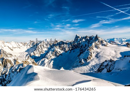 View from the Aiguille du Midi, Chamonix, France - stock photo