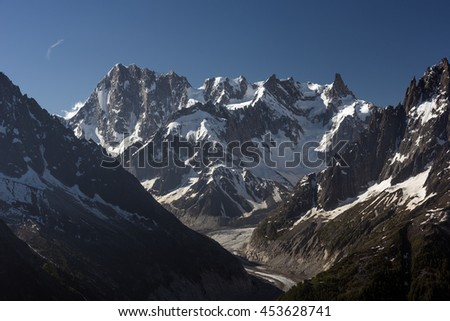 View from the Aiguilles Rouges National Nature Reserve, the peaks Grandes Jorasses and Dent du G�©ant, Chamonix, Haute-Savoie, France