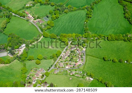 View from the air of the village of Capel in the Surrey countryside.