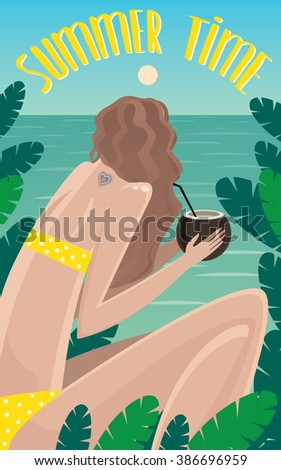 View from the back on girl sitting in jungle near the ocean and drinking coconut - Summer Time concept and lettering. Raster version of illustration - stock photo