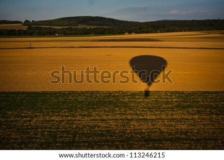 view from the balloon basket - stock photo