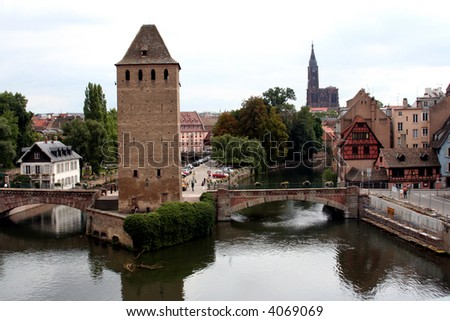 View from the Barrage Vauban, Strasbourg, France - stock photo