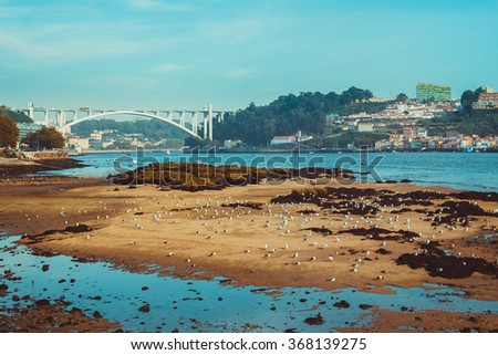 View from the beach of Douro river. - stock photo