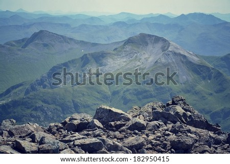 View from the Ben Nevis summit - filtered picture - stock photo