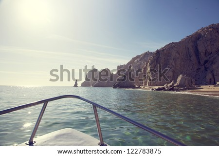 View from the boat - coastline of Los Cabos, Mexico - stock photo