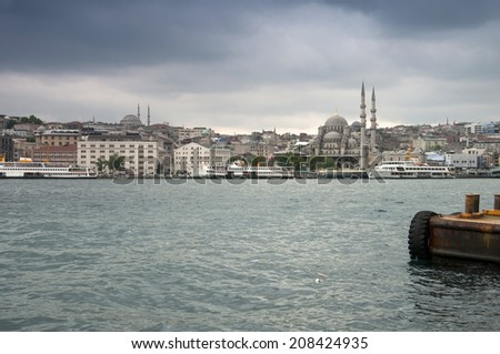 View from the Bosphorus Strait at Istanbul - stock photo