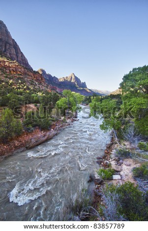 View from the bridge in Zion Canyon National Park, Utah, USA - stock photo