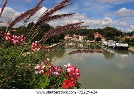 View from the Bridge on the canal-boat with - stock photo