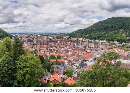 view from the castle of heidelberg over the old city - stock photo