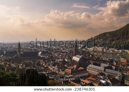 view from the castle to Heidelberg - stock photo