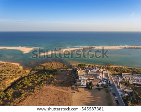 View from the church and the sea of the sky, the village Cacela Velha. Tavira Portugal