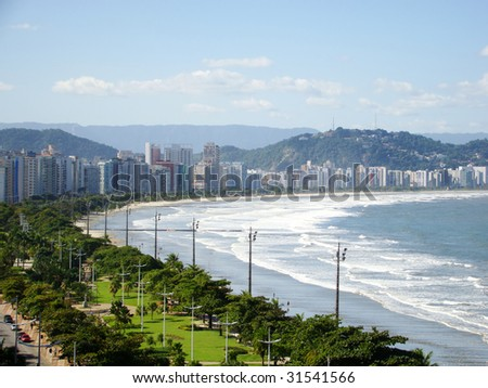 view from the city of santos - the largest beach front garden in the world - it is a natural patrimony