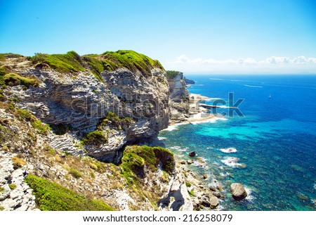 View from the cliff of Bonifacio, Corsica, France - stock photo