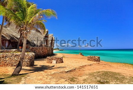 View from the coast to the Atlantic Ocean - stock photo