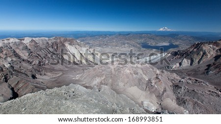 View from the crater to Mount Rainier and Lake Spirit