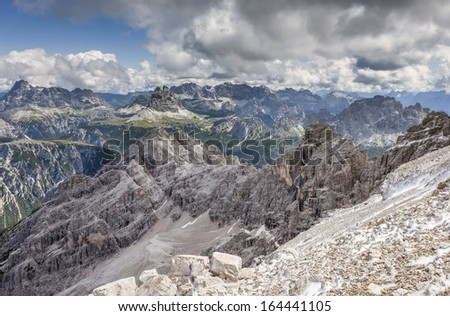 View from the Cristallo for the remainder of the Dolomites. - stock photo