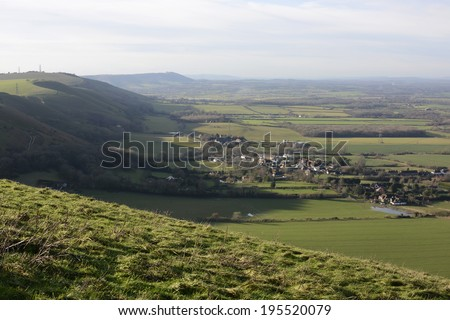 View from The Devils Dyke on The South Downs near Brighton. East Sussex. England. Village of Fulking - stock photo