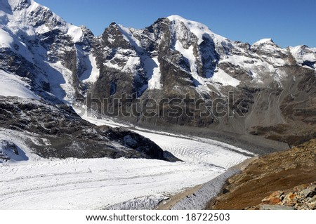 View from the Diavolezza to the surrounding mountains and glaciers