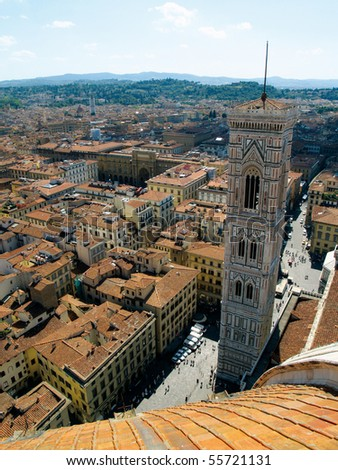 View from the dome looking over Florence, Italy - stock photo