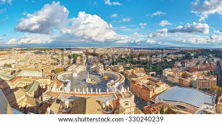View from the Dome of the Papal Basilica of St. Peter in the Vatican (St. Peter's Basilica) on St. Peter's Square, Europe - stock photo