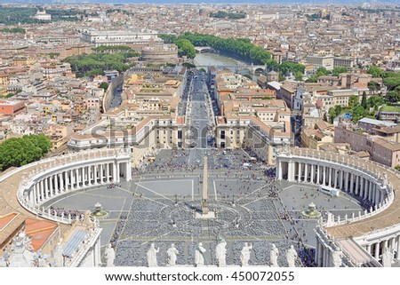 View from the dome of Vatican Saint Peter's Cathedral
