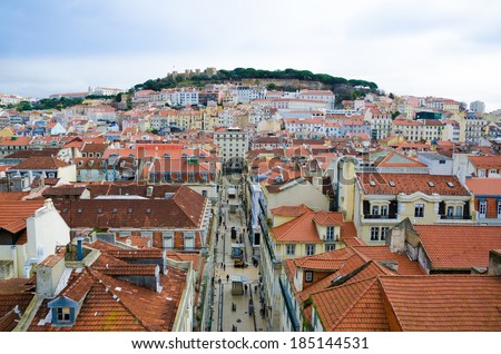 "View from the ""Elevador de Santa Justa"" to the old part of Lisbon 2 - stock photo"