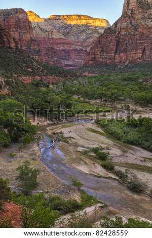 View from the Emeral Pool Trail in Zion Canyon - stock photo