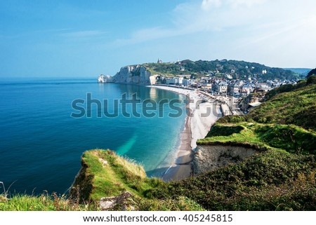 View from the famous white cliffs of Etretat on the beach and the village, Alabaster Coast, Normandy - stock photo