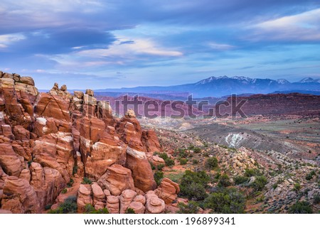 View from the Fiery Furnace Overlook at Sunset Arches National Park Moab Utah - stock photo