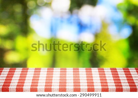 View from the forest in sunlight picnic time - stock photo