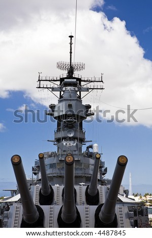 View from the forward main deck of the historic battleship USS Missouri, anchored at Pearl Harbor. - stock photo