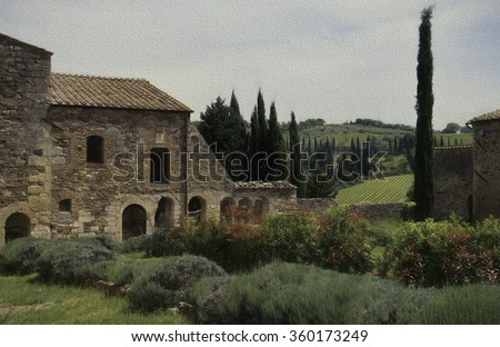 View from the gardens of Abbey of Sant'Antimo, Montalcino, Tuscany, Italy - stock photo