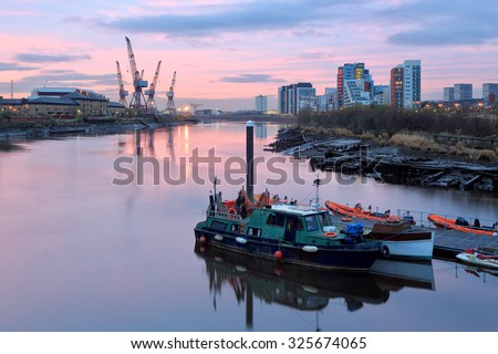 View from the Glasgow River Clyde at Sunset.