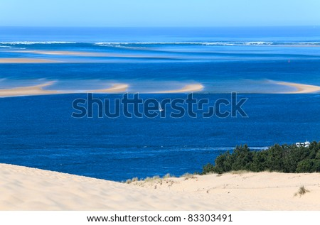 View from the highest dune in Europe - Dune of Pyla (Pilat), Arcachon Bay, Aquitaine, France - stock photo