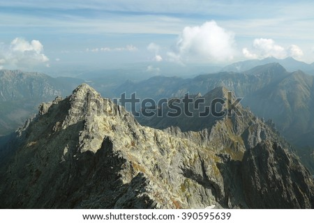 View from the highest peak in the Polish Tatra Mountains.