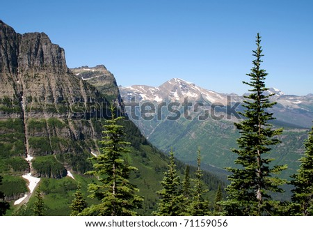View from the Highline Trail - Glacier National Park, Montana - stock photo