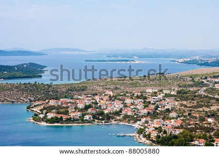 View from the hill on Dalmatian islands close to Sibenik, Croatia.