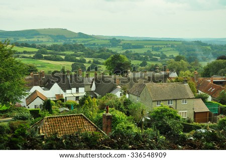 View from the hill over the countryside in Shaftesbury, the UK