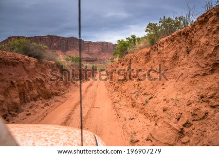View from the inside of the off road vehicle White Rim Road Utah - stock photo