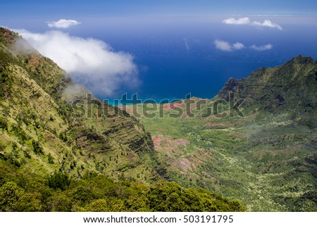 View from the Kalalau Lookout in Kokee State Park into Kalalau Valley at the Na Pali coast on Kauai, Hawaii, USA.