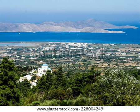 View from the Kos Island to the Turkish Bodrum - stock photo