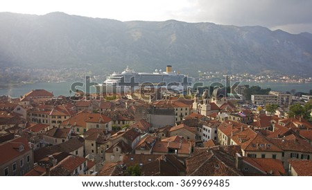 View from the Kotor city wall (Montenegro) - Selective focus - stock photo