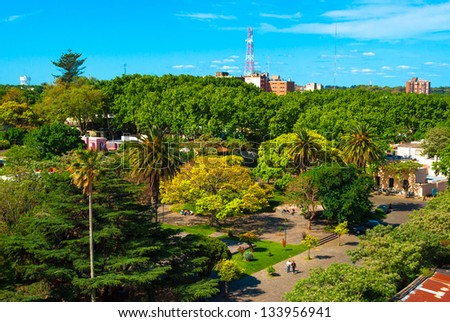 View from the lighthouse of historic neighborhood in Colonia del Sacramento, Uruguay - stock photo