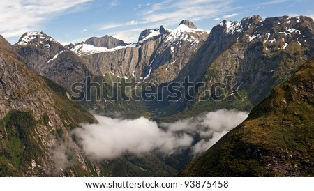 View from the Mackinon Pass - Mildford Track - stock photo