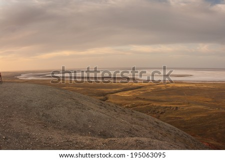View from the Mount Bogdo to the Lake Baskunchak, Russia
