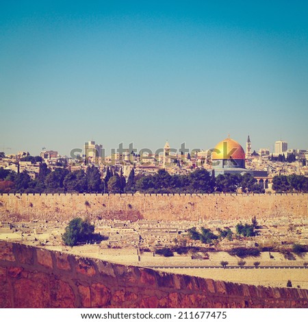 View from the Mount of Olives to Walls of the Old City of Jerusalem and the Dome of the Rock, Instagram Effect - stock photo